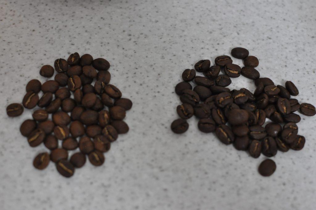 焙煎豆の比べ