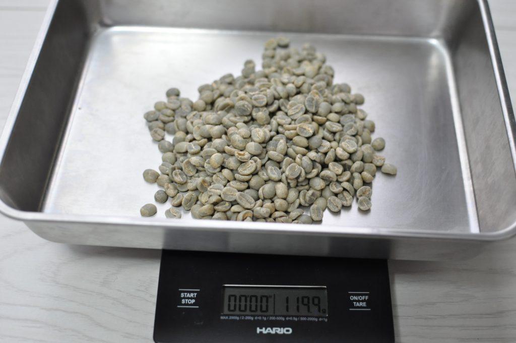生豆のグラム図り